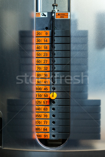 Closeup of weight stack with orange pin. Stock photo © luckyraccoon