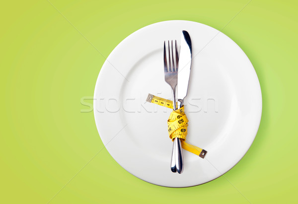 巻き尺 フォーク ナイフ ダイエット 画像 背景 ストックフォト © luckyraccoon