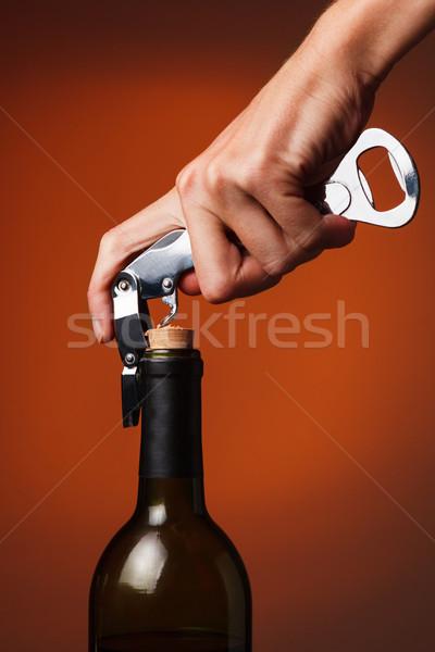 открытие бутылку вино штопор ресторан группа Сток-фото © luckyraccoon