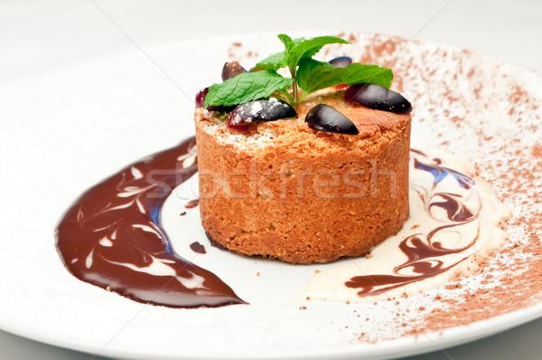 Mandel Kuchen Essen Restaurant Tabelle Stock foto © luckyraccoon