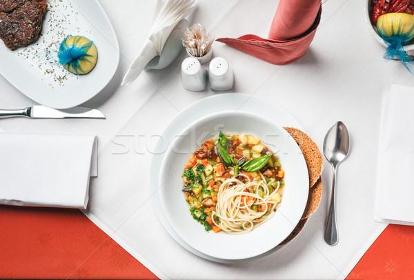 Brodo di pollo pasta verdura sfondo ristorante chef Foto d'archivio © luckyraccoon