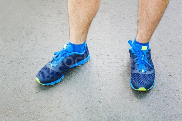Männlich Läufer stehen Raum Text Stock foto © luckyraccoon
