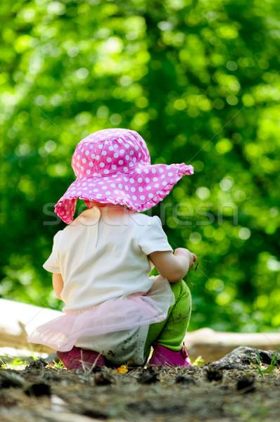 Tek başına bebek orman bebek yeşil kız Stok fotoğraf © luckyraccoon