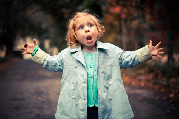 Piccolo divertente baby cantare fuori strada Foto d'archivio © luckyraccoon
