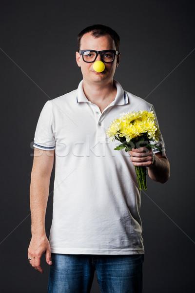 Portre adam komik sarı burun Stok fotoğraf © luckyraccoon