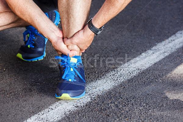 Kırık ayak bileği çalışma spor hasar erkek Stok fotoğraf © luckyraccoon