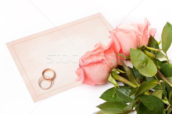 üres kártya gratulálok gyűrűk rózsák virágok papír Stock fotó © luckyraccoon