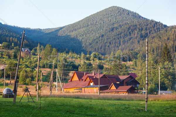 Otel dağlar Ukrayna ev bulutlar Bina Stok fotoğraf © luckyraccoon