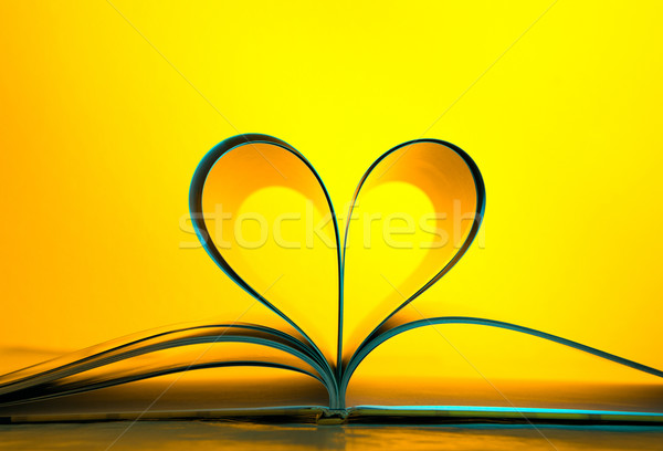 Pages curved into a heart shape Stock photo © luckyraccoon