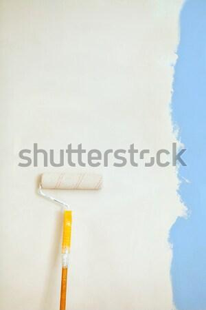 Brosse orange mur maison blanche Photo stock © luckyraccoon