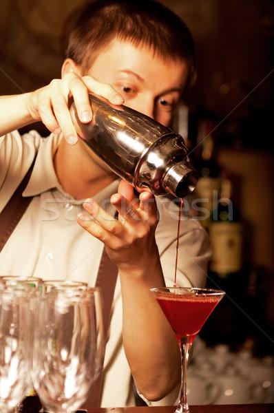 Stockfoto: Barman · werk · foto · business · voedsel · bar