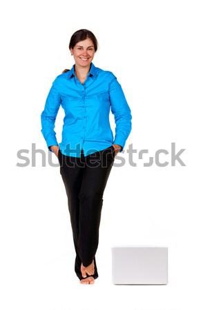 幸せ 女性 ラップトップコンピュータ 孤立した 白 ビジネス ストックフォト © luckyraccoon