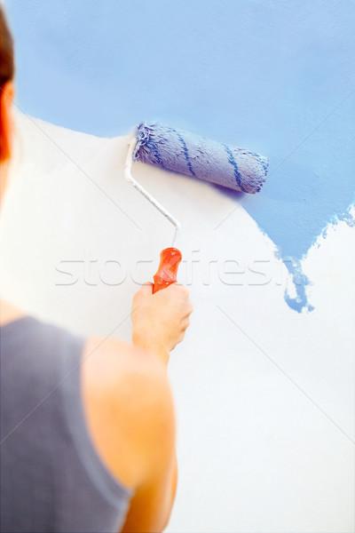 Pintura pared cepillo trabajo diseno Foto stock © luckyraccoon