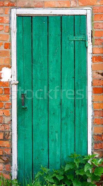 Old weathered door with knob. Stock photo © luckyraccoon