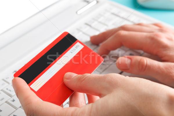 Nő tart hitelkártya online vásárlás pénz lány Stock fotó © luckyraccoon