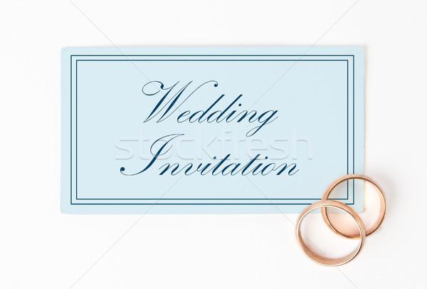 Invitación de la boda tarjeta anillos papel boda fiesta Foto stock © luckyraccoon