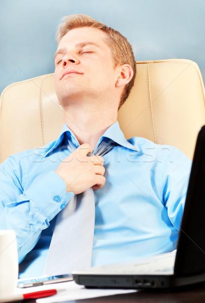 Fiatal üzletember egészség számítógép iroda kéz Stock fotó © luckyraccoon