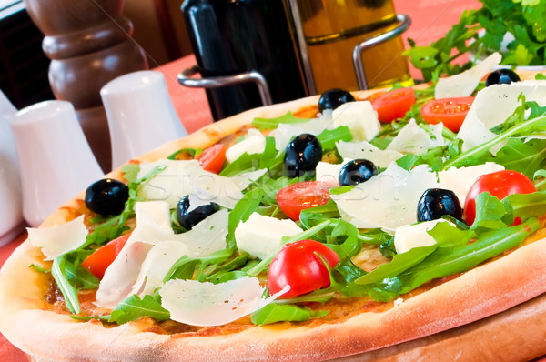 Stockfoto: Pizza · prosciutto · voedsel · hout · gezondheid