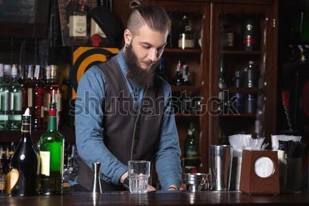 Barmen çalışmak fotoğraf iş gıda bar Stok fotoğraf © luckyraccoon