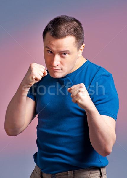 Genç boks pozisyon fotoğraf ayakta spor Stok fotoğraf © luckyraccoon