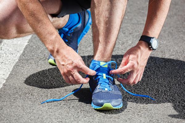 Corredor zapatillas listo ejecutar carretera deporte Foto stock © luckyraccoon