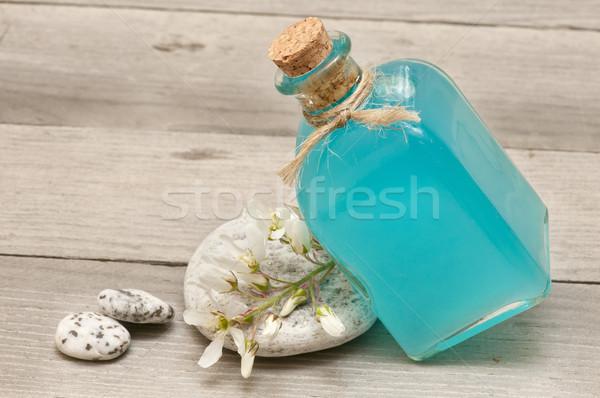 Spa martwa natura oleje kwiaty zdrowia niebieski Zdjęcia stock © luiscar