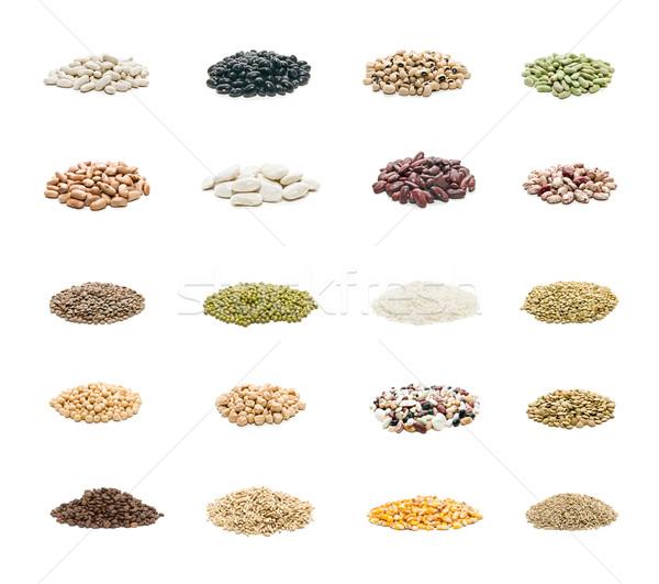 Orgânico sementes coleção isolado branco textura Foto stock © luiscar