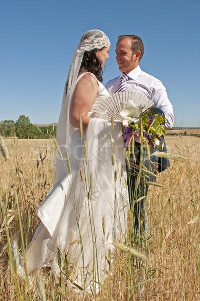 Casamento casal campo belo noiva amoroso Foto stock © luiscar
