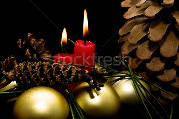 Photo stock: Noël · rouge · bougies · noir · fond