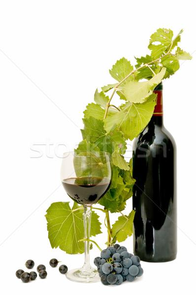 Martwa natura wina wino czerwone winogron biały Zdjęcia stock © luiscar
