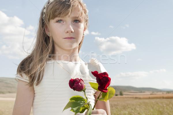 Meisje communie jurk eerste communie weide Stockfoto © luiscar