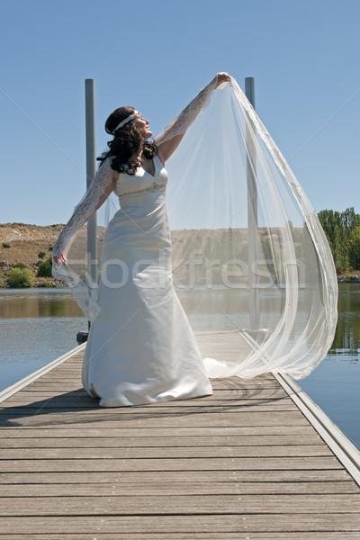 Piękna kobieta oblubienicy ślub dzień wody dziewczyna Zdjęcia stock © luiscar