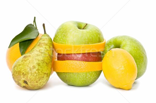 Mieszany owoce odizolowany biały żywności jabłko Zdjęcia stock © luiscar