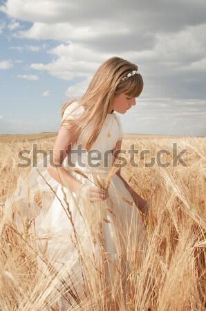 Communie meisje jurk veld partij model Stockfoto © luiscar