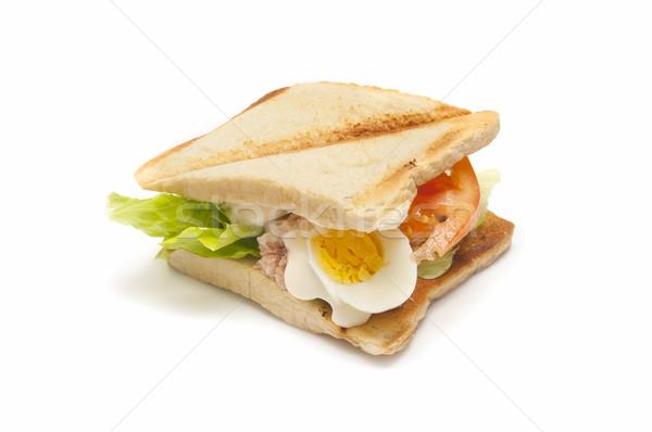 Sebze sandviç ton balığı domates marul yumurta Stok fotoğraf © luiscar