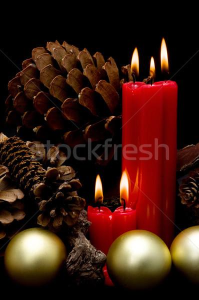 Christmas czerwony świece czarny tle Zdjęcia stock © luiscar