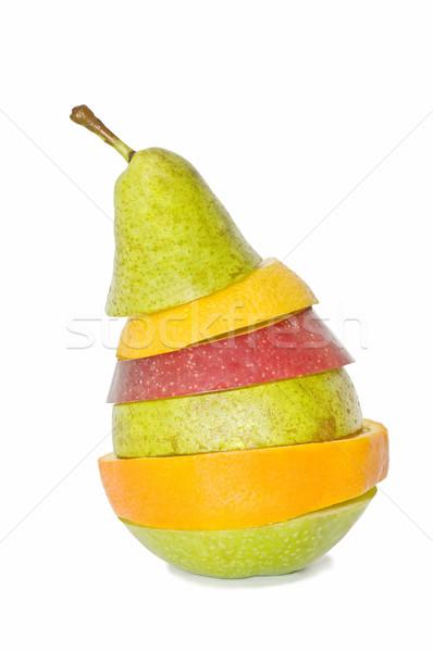 Foto stock: Misto · frutas · isolado · branco · comida · maçã