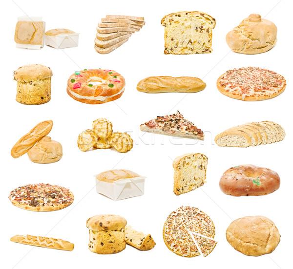 Foto stock: Feito · à · mão · pão · isolado · branco · comida