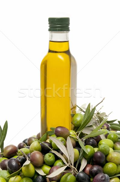Foto stock: Azeite · azeitonas · branco · comida · fruto · verde