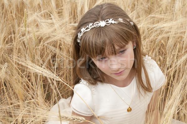 Communie meisje jurk veld partij licht Stockfoto © luiscar