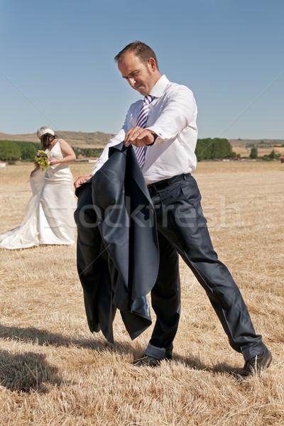 Stok fotoğraf: Adam · damat · zarif · düğün · takım · elbise · gün