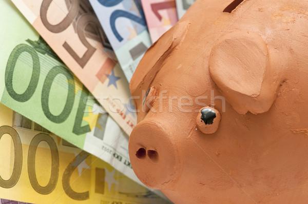 Alcancía ahorros euros billetes blanco negocios Foto stock © luiscar
