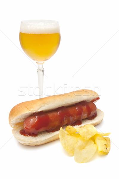 Bira sosis sandviç cips domates yalıtılmış Stok fotoğraf © luiscar