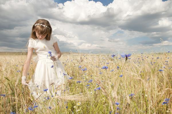 Comunión nina vestido campo fiesta modelo Foto stock © luiscar
