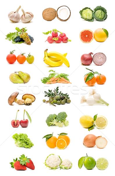 Stok fotoğraf: Meyve · sebze · toplama · yalıtılmış · beyaz · elma
