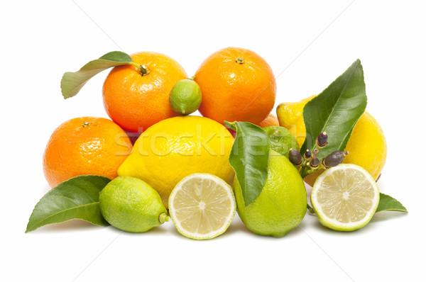 Fraîches orange citron isolé blanche alimentaire Photo stock © luiscar
