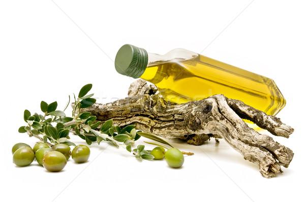 Azeite azeitonas branco comida fruto verde Foto stock © luiscar