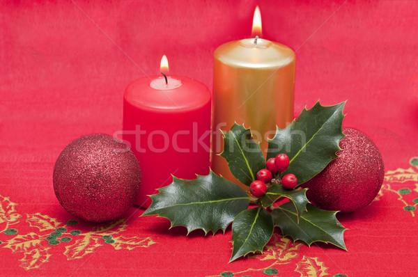Foto stock: Natal · cartões · velas · projeto · inverno · folhas