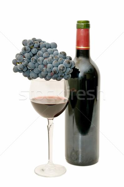 Natürmort şarap taze üzüm beyaz Stok fotoğraf © luiscar