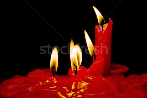Navidad rojo velas negro fondo Foto stock © luiscar